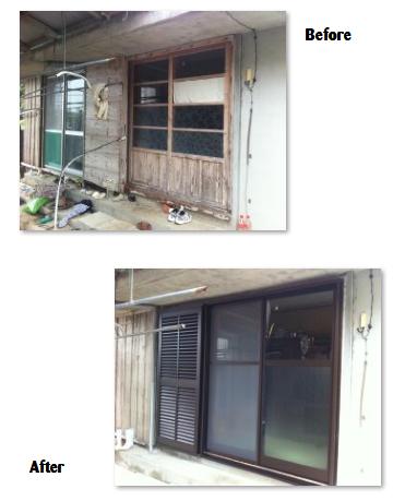 木製サッシと木製雨戸の交換工事
